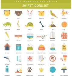 pet color flat icon set Elegant style vector image