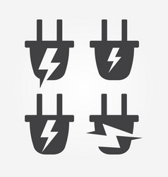 Plug into socket with lightning energy logo vector