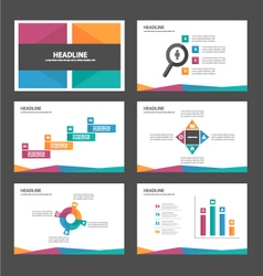 Purple orange green blue presentation templates vector