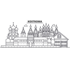 Russia kostroma architecture line skyline vector