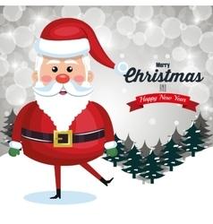 santa happy card merry christmas landscape snow vector image vector image