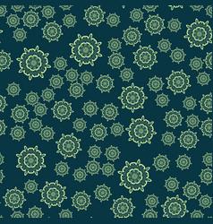 Seamless dark green flower mandala for print on vector