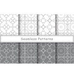 Set of 8 seamless patterns in ethnic style vector image
