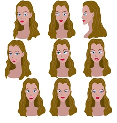 Set of variation of emotions of the same girl vector image