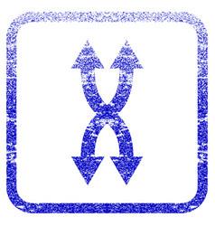 Shuffle arrows vertical framed textured icon vector