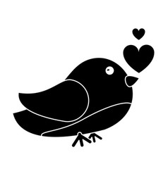 Silhouette cute bird heart loveling vector