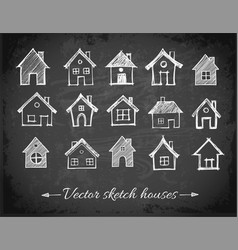 sketch of houses on blackboard background vector image vector image