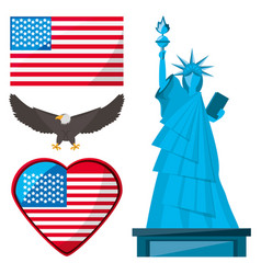 Statue of liberty eagle and american flag vector