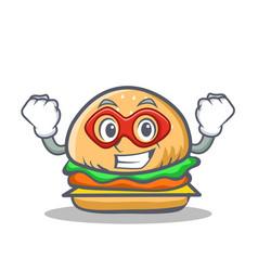 Super hero burger character fast food vector
