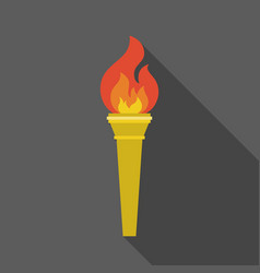 Torch icon with long shadow vector