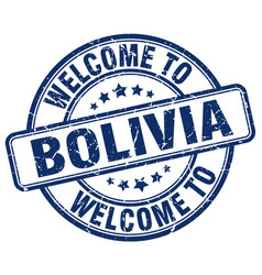Welcome to bolivia blue round vintage stamp vector