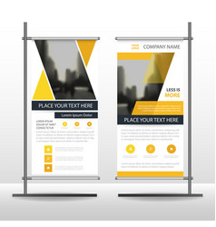 Yellow triangle business roll up banner flat vector
