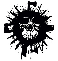Grunge white skull in frame with axe and knifes vector