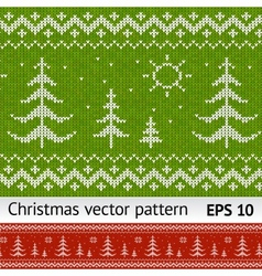 Knitted christmas trees on green and red vector
