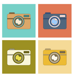 Assembly flat icon technology camera vector