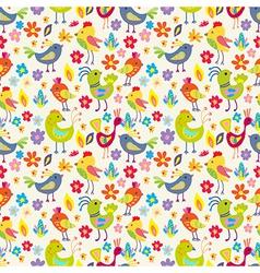 Seamless funny Cartoon Birds vector image