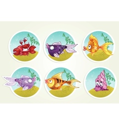 Collection of marine life - fish crab snail vector