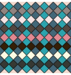 Rhombus seamless grunge background in retro colors vector