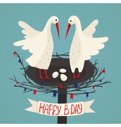 Parents storks and eggs in nest birthday card vector