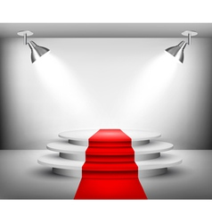 Showroom with red carpet vector