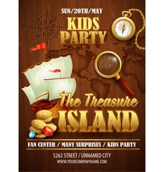 Treasure island party flyer template vector