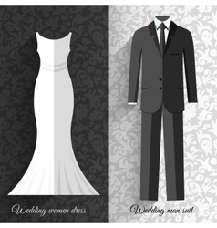 Wedding beautiful suits clothing ornamental style vector