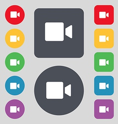 Video camera icon sign a set of 12 colored buttons vector