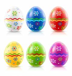 Easter eggs with traditional ornament vector