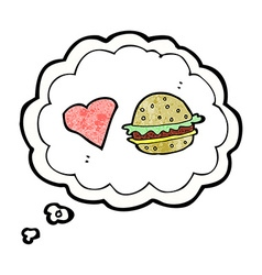 Cartoon hamburger with thought bubble vector