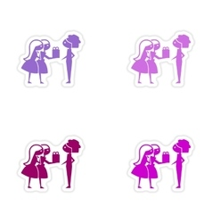 Assembly realistic sticker design on paper friend vector