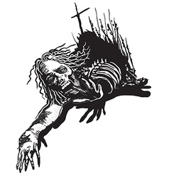 Undead zombie - freehand sketching vector