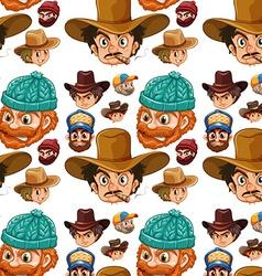 Seamless head of cowboys and lumberjacks vector image
