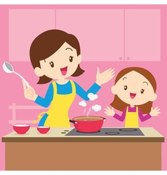 Mom and daughter cooking vector