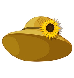 A fashionable hat with a sunflower vector