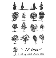 A set of hand-drawn trees vector image vector image