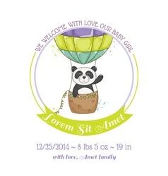 Baby shower card - baby panda and air balloon vector