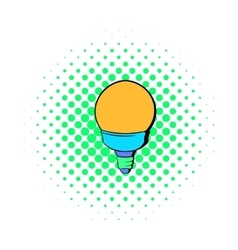 Bulb icon in comics style vector image