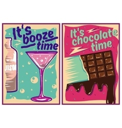 Chocolate and cocktail posters in vintage style vector image vector image