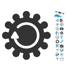 Cog Rotation Icon With Air Drone Tools Bonus vector image vector image