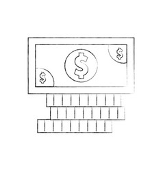 Coins and bill money isolated icon vector