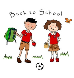 Couple of kids going back to school vector