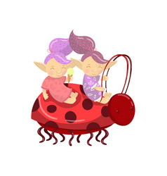 Cute troll girl characters riding on ladybug vector