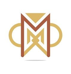 Design element letter m triangle semicircle vector