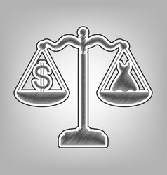 Dress and dollar symbol on scales pencil vector