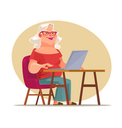 elderly woman character chatting network vector image