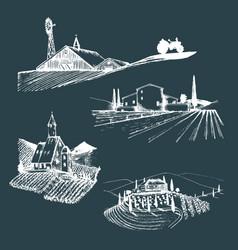 farm landscapes set sketches vector image vector image