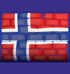 Flag of norway painted on brickwall vector
