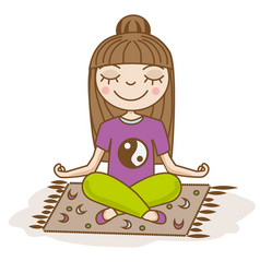 Girl doing yoga woman sitting in half lotus pose vector