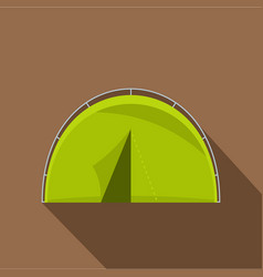 Green touristic camping tent icon flat style vector
