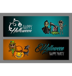 Halloween monsters happy party web banners set vector image